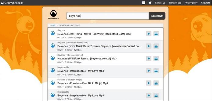 Grooveshark está funcionando com 90% do conteúdo original (Foto: Reprodução/Raquel Freire)