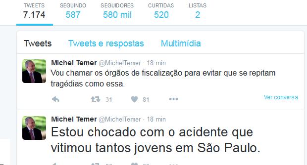 No Twitter, Temer lamentou acidente em São Paulo  (Foto: Reprodução/Twiiter)