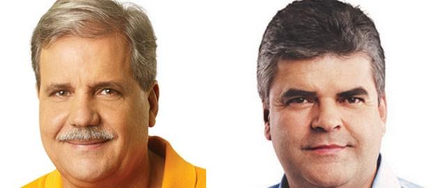 Washington Reis e Dica, candidatos à prefeitura de Duque de Caxias (Foto: Reprodução/TV Globo)