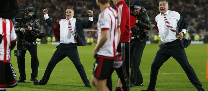 Sam Allardyce comemora vitória e salvação do Sunderland na Premier League (Foto: Owen Humphreys/PA via AP)