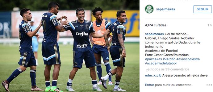 Gabriel participa de rachão em treino do Palmeiras (Foto: Reprodução/Instagram)
