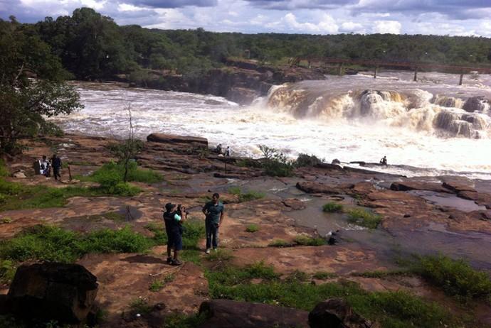 Equipe do Programão grava no Parque Ecológico Cachoeira do Urubu (Foto: Gshow/Rede Clube)