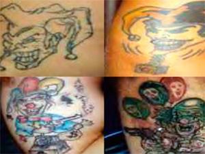 Criminosos que posseum a tatuagem do palhaço têm ligação com roubos e formação de quadrilhas. (Foto: Divulgação)