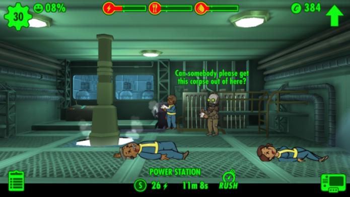 Fallout Shelter: recolha seus mortos para evitar uma queda maior de felicidade (Foto: Reprodução/App Trigger)