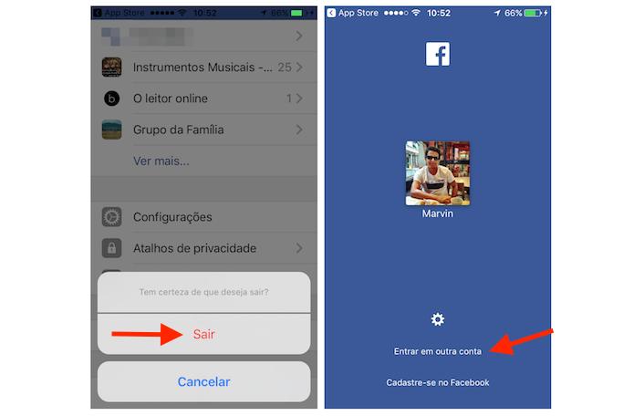 Acessando uma nova conta de usuário do Facebook no app para iPhone (Foto: Reprodução/Marvin Costa)