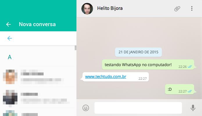 Iniciando nova conversa através do computador (Foto: Reprodução/Helito Bijora)