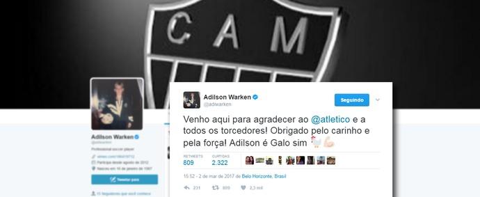 Print do Twitter do volante Adilson, novo contratado do Atlético-MG (Foto: Reprodução / Twitter)