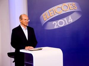O candidato ao GDF Jofran Frejat (PR) se prepara para o debate da TV Globo (Foto: Gabriel Souto/TV Globo)