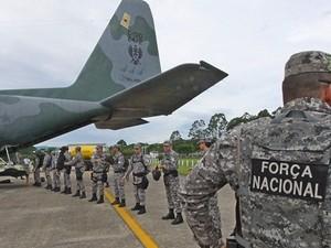 Força Nacional chegou em Santa Catarina na sexta-feira (15) (Foto: James Tavares/Divulgação)
