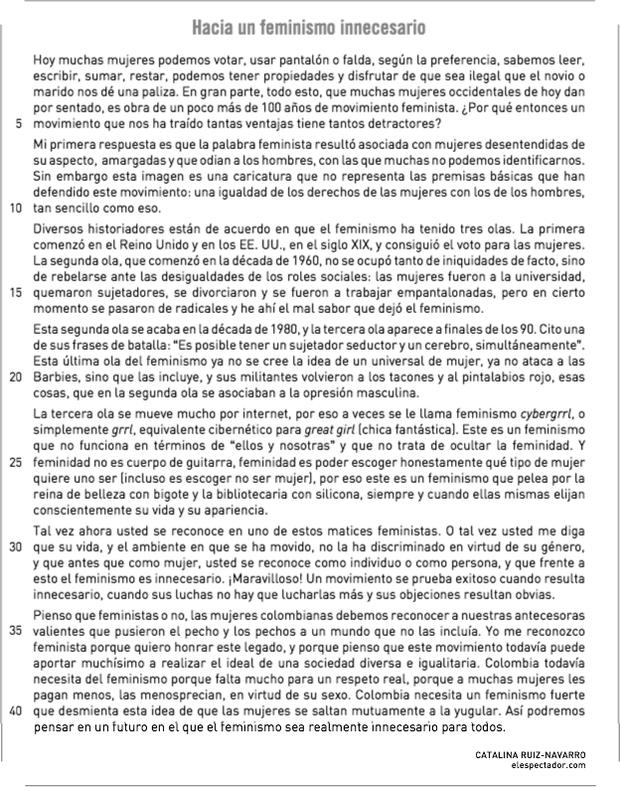 Texto Hacia un feminismo innecesario, de Catalina Ruiz-Navarro (Foto: Reprodução/UERJ)