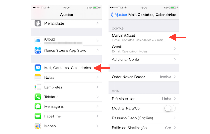 Acessando as configurações de uma conta do iCloud no iOS (Foto: Reprodução/Marvin Costa)