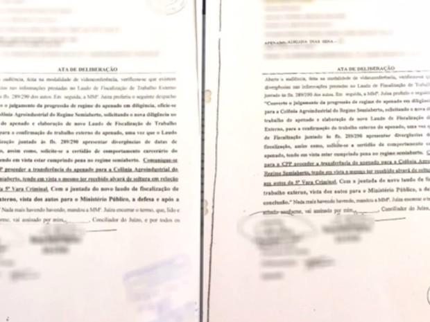 Documentos falsos eram usados para evitar transferências de presos Goiás (Foto: Reprodução/TV Anhanguera)