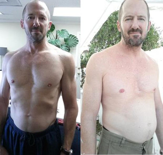 Prior viu mudanças drásticas em seu corpo anteriormente saudável e musculoso (Foto: Divulgação /  Ten Cokes a Day)
