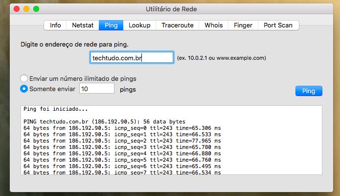 Saiba o IP de um site utilitário de rede do Mac (Foto: Reprodução/Paulo Alves)