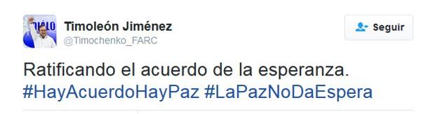 'Ratificando o acordo da esperança', disse líder das Farc no Twitter (Foto: Reprodução/Twitter)