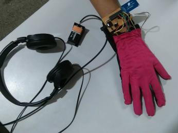 Luva decodifica Libras e transforma em áudio (Foto: Adriano dos Santos Freide/ Arquivo pessoal)