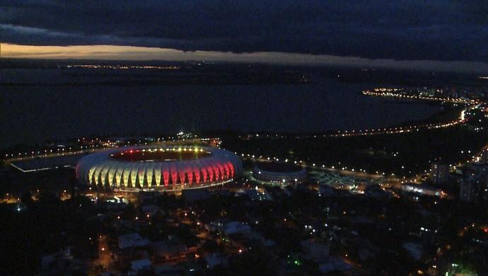 Beira-Rio estádio Inter iluminação Bélgica (Foto: Reprodução / RBS TV)