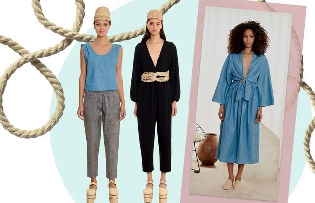 A partir da esquerda, top (R$ 150) e calça (R$ 250); blusa (R$ 250) e calça (R$ 250) e à direita, top (R$ 250) e saia (R$ 250)  (Foto: Higor Bastos e Divulgação)