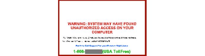 Aviso de suporte falso tem número de telefone com atendentes na linha (Foto: Divulgação/Kaspersky)
