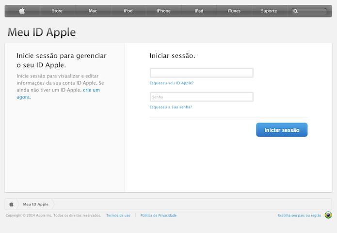 Página de gerenciamento da Apple ID (Foto: Reprodução/Marvin Costa)