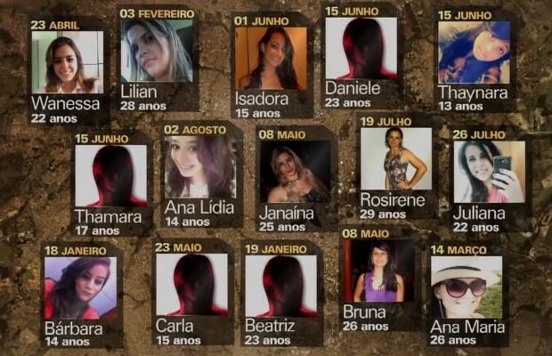 Ana Maria, Bruna, Lilian, Janaína, Ana Lídia, Juliana são algumas das vítimas do suposto serial killer em Goiânia, Goiás (Foto: Reprodução/TV Anhanguera)