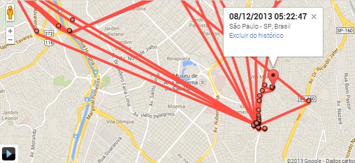 Ao clicar em cada ponto, você pode ver o horário exato em que você passou por um local (Foto: Reprodução/Paulo Alves) (Foto: Ao clicar em cada ponto, você pode ver o horário exato em que você passou por um local (Foto: Reprodução/Paulo Alves))