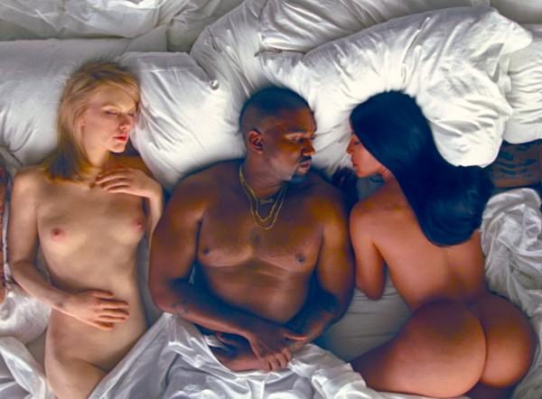 As estátuas de Taylor Swift e Kim Kardashian no clipe de Kanye West (Foto: Reprodução)