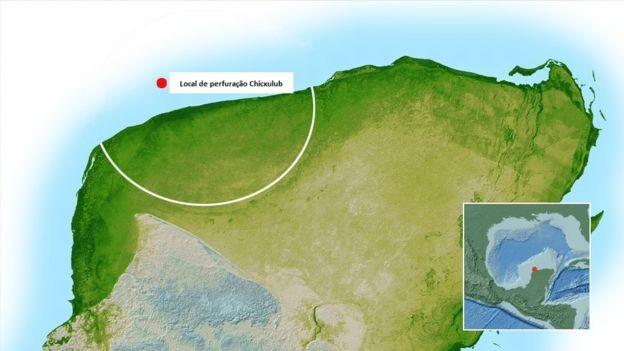 Local onde está a cratera conhecida como Chicxulub (Foto: NASA)