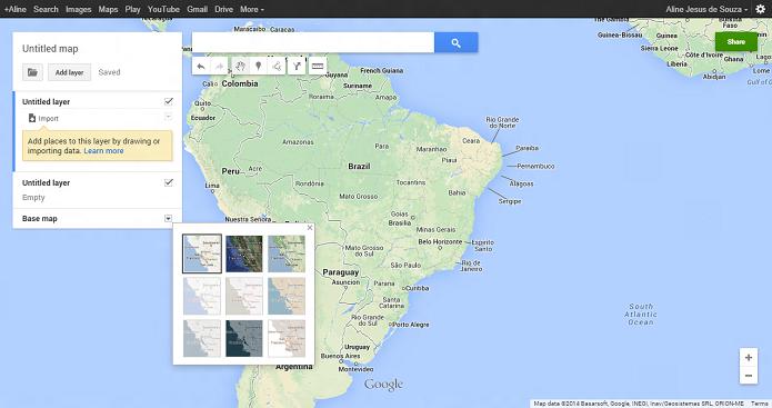 Você pode customizar o tipo de mapa (Foto: Aline Jesus/Reprodução)
