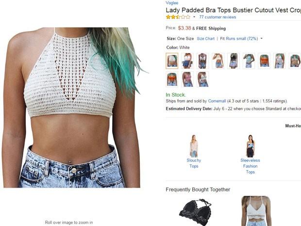 Site colocou foto de como ficaria o top em modelo (Foto: Reprodução/Amazon)