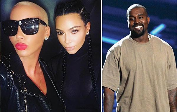 Amber Rose, Kim Kardashian e Kanye West (Foto: Reprodução / Getty Images)