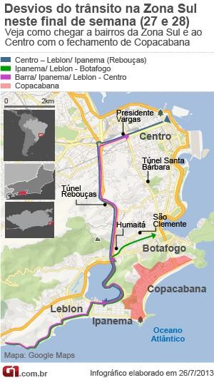 Mapa de desvios de trânsito em Copacana: dia 26 e 27 (Foto: Arte G1)