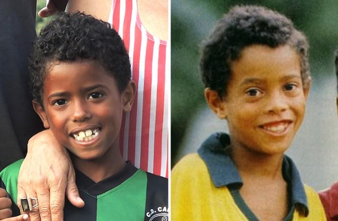 Montagem Mini sósia Ronaldinho (Foto: Editoria de Arte)