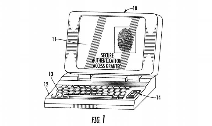 Patente da Apple explica o uso de sensores biométricos, para identificar impressões digitais, em laptops e computadores de mesa (Foto: Reprodução/USPTO)