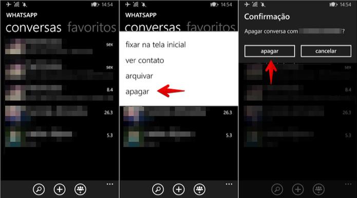 Apagando uma conversa no WhatsApp para Windows Phone (Foto: Reprodução/Helito Bijora)
