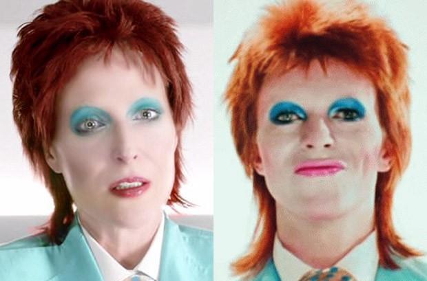 Gillian Anderson e David Bowie (Foto: Reprodução/Starz)