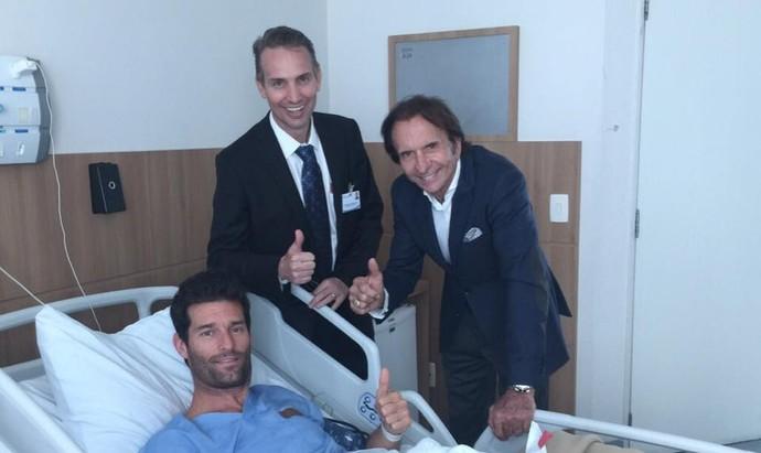 Promotor das 6 Horas de São Paulo, Emerson Fittipaldi visitou Mark Webber no hospital (Foto: Reprodução)