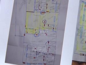 Suspeitas fizeram até um mapa da casa (Foto: Reprodução / TV TEM)