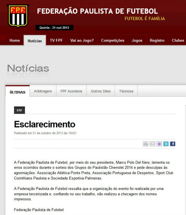 Federação Paulista pede desculpa por gafes em sorteio dos grupos do Paulistão (Foto: reprodução)