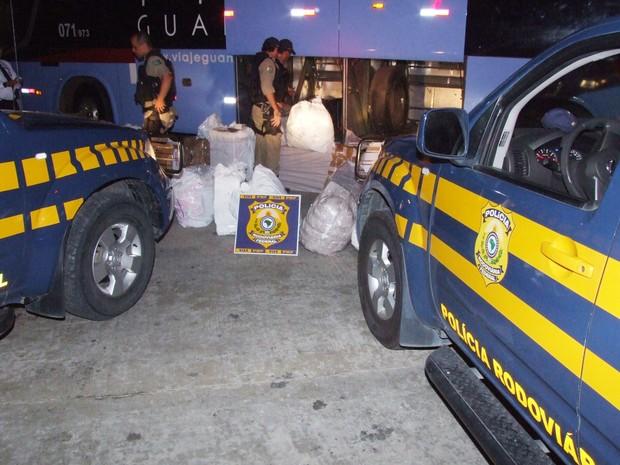 Produtos estavam sendo transportados em um ônibus que seguia de Pernambuco para o Ceará (Foto: Walter Mota/PRF-PB)