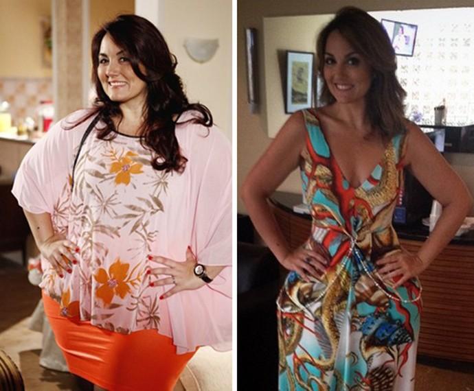 Antes e depois de Renata Celidônio ter emagrecido (Foto: TV Globo / Arquivo Pessoal)