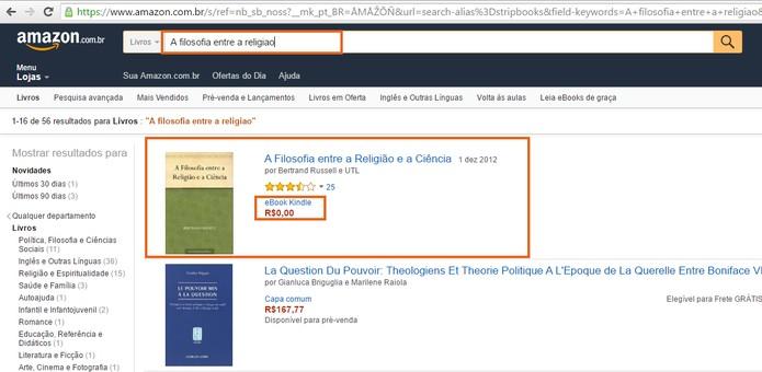 Busque um livro para baixar na loja da Amazon (Foto: Reprodução/Barbara Mannara)