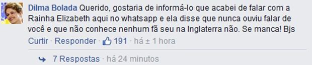 Perfil Dilma Bolada responde a comentário de Ed Motta no Facebook (Foto: Reprodução / Facebook)