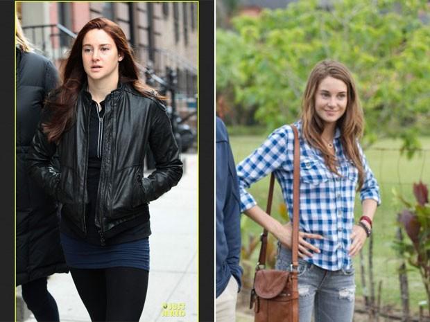 Em imagem divulgada pelo site Just Jared, Shailene Woodley aparece caracterizada como Mary Jane, par do Homem-Aranha; à direita, a atriz em 'Os descendentes', no qual contracena com George Clooney (Foto: Reprodução/Just Jared e Divulgação)