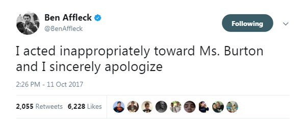 nota de Ben Affleck sobre o seu próprio caso de assédio sexual (Foto: reprodução/ twitter)