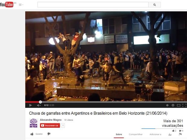 Briga generalizada entre torcedores deixa um ferido em Belo Horizonte (Foto: Reprodução/Youtube)