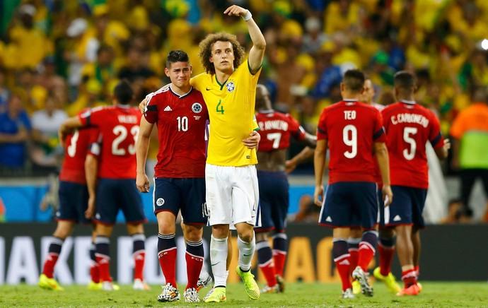 david luiz Brasil e James rodriguez Colombia Arena Castelão (Foto: Agência Reuters)