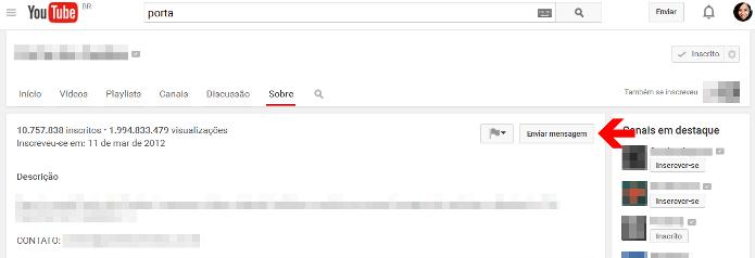 O YouTube permite o envio de mensagens privadas aos seus canais e usuários (Foto: Reprodução/Lívia Dâmaso)