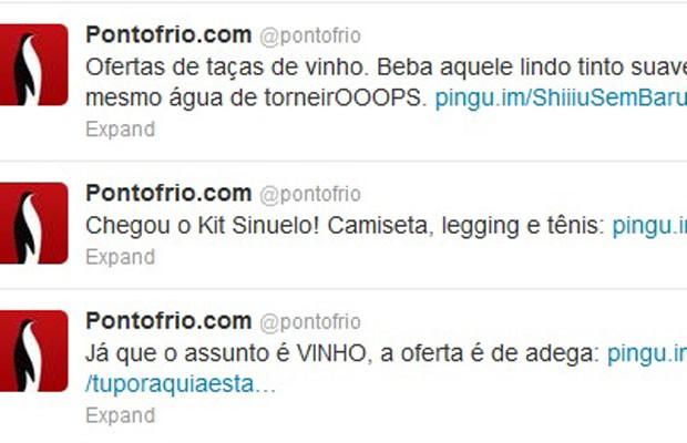 Conta no Twitter da varejista Ponto Frio aproveitou o caso para tuitar ofertas de produtos relacionados à conversa. (Foto: Reprodução/Facebook.com)