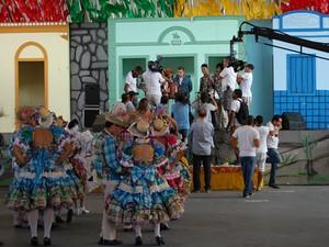 Gravações do 'Caldeirão do Huck' no Parque do Povo tiveram quadrilha junina e sanfoneiro (Foto: Taiguara Rangel/G1)